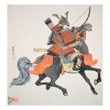 Samurai of Old Japan Armed with Bow and Arrows Lámina giclée por  Japanese School