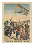 The 'Petit Journal' Airplane Flying over Morocco Premium Giclee Print by  French School