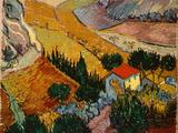 Landscape with House and Ploughman, 1889 Premium Giclee-trykk av Vincent van Gogh