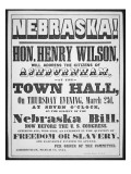 Poster Calling a Meeting to Discuss the Nebraska Bill, 1854 Premium Giclee Print by  American School
