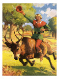 Robin Hood on the Back of a Stag Giclee Print by Derek Charles Eyles