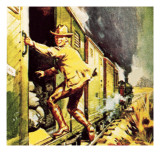 Winston Churchill Jumping from a Train During the Boer War Giclee Print by  McConnell