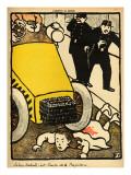 A Police Car Runs over a Little Girl Giclee Print by Félix Vallotton