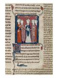 Ms 372 Fol.168 a Marriage Scene, from 'Decrets De Gratien' Giclee Print by  French School