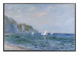 Cliffs and Sailboats at Pourville Giclee Print by Claude Monet