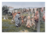 Arab Butchery in Algeria, Late 19th Century Giclee Print by French Photographer