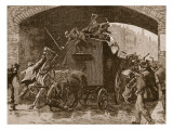 Fenian Attack on the Police Van in Manchester, 1867 Giclee Print by William Barnes Wollen