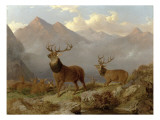 Stags and Hinds in a Highland Landscape, 1864 Giclee Print by John Frederick Herring II