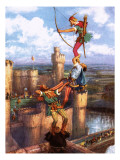 Robin Hood Shooting into Nottingham Castle Giclee Print by John Millar Watt