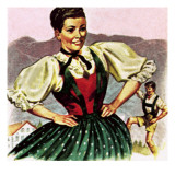 Girl in the Costume of the Austrian Tyrol Giclee Print by  English School