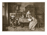 Milton Dictating &#39;Paradise Lost&#39; Giclee Print by Mihaly Munkacsy