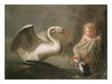 A Swan Guarding its Nest from a Child and a Spaniel Giclee Print by Peeter Snyers