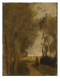 Road at Lisiere De Bois, C.1860-65 Giclee Print by Jean-Baptiste-Camille Corot
