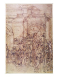 W.29 Sketch of a Crowd for a Classical Scene Giclee Print by  Michelangelo Buonarroti