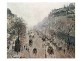 Boulevard Montmartre on a Foggy Sunny Morning, 1897 Reproduction giclée Premium par Camille Pissarro