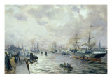 Sailing Ships in the Port of Hamburg, 1889 Giclee Print by Carl Rodeck