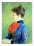 Profile of a Woman Wearing a Jabot Premium Giclee Print by Mary Cassatt