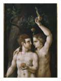 Triptych of the Creation, Adam and Eve, Left Panel Giclee Print by  German School