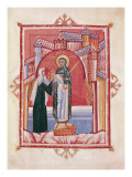 The Abbess Hilda Offering the Gospel to St. Walburga Giclee Print by  German School