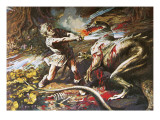 Sigurd Slaying the Dragon Fafnir Giclee Print by Alberto Salinas