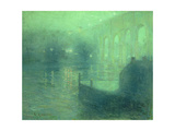 Harlem River at Night, Blue Reflection Premium Giclee Print by Ernest Lawson