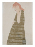 Standing Woman in a Golden Dress Giclee Print by Egon Schiele