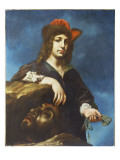David with the Head of Goliath Gicle-tryk af Carlo Dolci