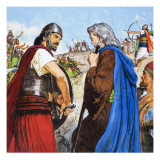 The Story of Elisha Retold, the Enemies Meet Giclee Print by Clive Uptton