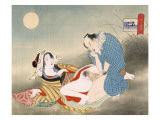 Couple Making Love in the Moonlight Premium Giclee Print by  Japanese School