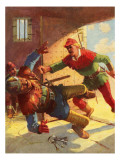 Robin Hood Attacking Little John's Guard Giclee Print by Derek Charles Eyles