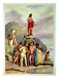 Group of Indians on a River Bank, 1854 Giclee Print by Friedrich Kurz