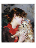 The Actress Rejane and Her Dog, C.1885 Giclee Print by Giovanni Boldini