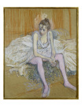 A Seated Dancer with Pink Stockings, 1890 Lámina giclée por Henri de Toulouse-Lautrec