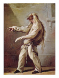Character from the Commedia Dell'Arte Premium Giclee Print by Claude Gillot