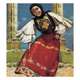 Girl in National Costume of Greece Giclee Print by English School
