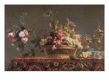 Grapes in a Basket and Roses in a Vase Giclee Print by Frans Snyders Or Snijders