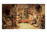 Arabs Making Music in an Interior Giclee Print by Jose Benlliure Y Gil
