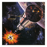 War in Outer Space, as Envisaged in 1977 Reproduction procédé giclée par Gerry Wood