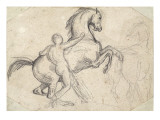 Rearing Stallion Held by a Nude Man Giclee Print by Theodore Gericault
