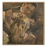 Max Mainer with a Siberian Greyhound, 1917 Gicleetryck av Lovis Corinth