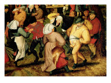Rustic Wedding, Detail of People Dancing Giclee Print by Pieter Bruegel the Younger