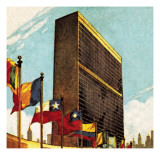 United Nations Building in New York Reproduction procédé giclée par English School