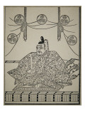 Portrait of Shogun Tokugawa Ieyasu in Court Dress Reproduction procédé giclée par Japanese School