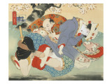 Couple Having Sex under a Cherry Tree Reproduction procédé giclée par Japanese School