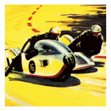 Motor-Cycle Side-Car Racing Giclee Print by Wilf Hardy