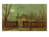 A Lady in a Garden by Moonlight, 1882 Premium Giclee Print by  Grimshaw
