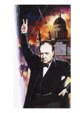 Winston Churchill During the Blitz Giclee Print by  English School