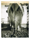The Launching of the Rms Mauretania, 28th July 1938 Giclee Print by  English Photographer