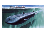 Atomic Submarine under the Ice Giclee Print by  English School