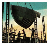 Belfast Shipyards, Where the Titanic Was Built Giclee Print by  English School